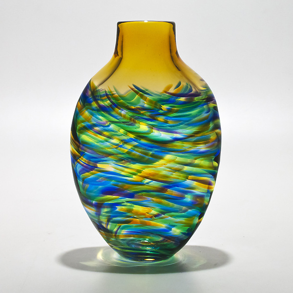 Vortex Tall Flat Tiffany with Topaz - Art Glass Vase - by Michael Trimpol