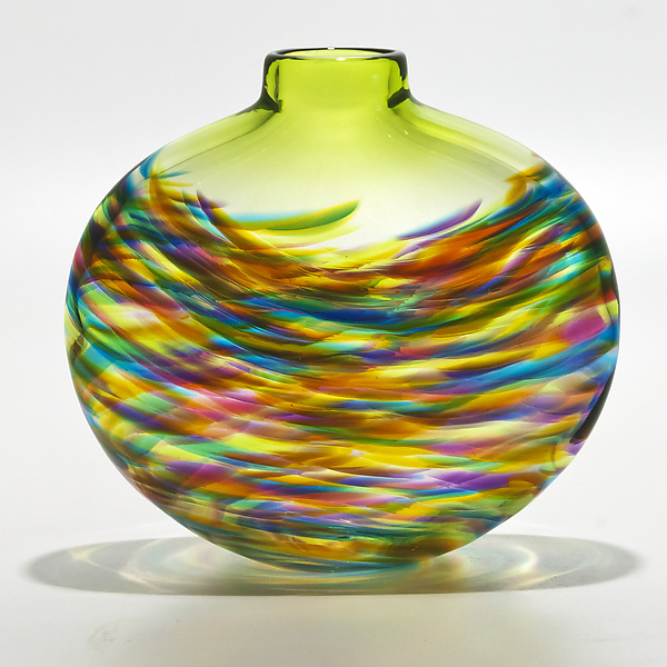 Vortex Flat in Lime Mix with Lime - Art Glass Vase - by Michael Trimpol