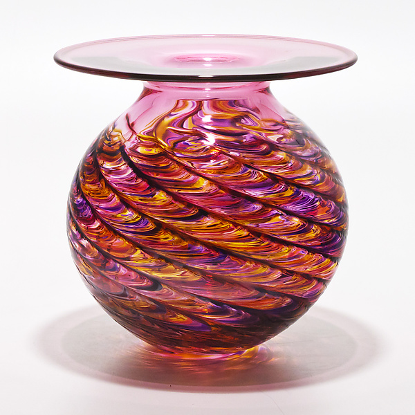Optic Rib Flared Lip in Violet Pink Sunshine with Strawberry - Art Glass Vase - by Michael Trimpol