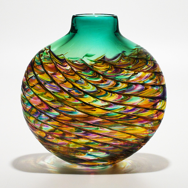 Optic Rib Flat in Candy with Emerald - Art Glass Vase - by Michael Trimpol