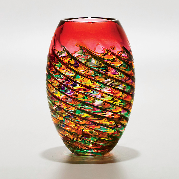 Optic Rib Barrel in Candy with Strawberry - Art Glass Vase - by Michael Trimpol