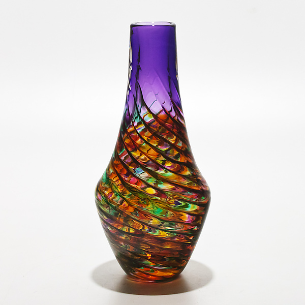 Optic Rib Long Neck Vase in Candy with Grape - Art Glass Vase - by Michael Trimpol