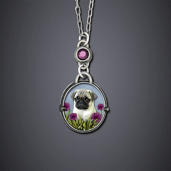 Pinkerton the Pug - Silver Necklace - by Dawn Estrin