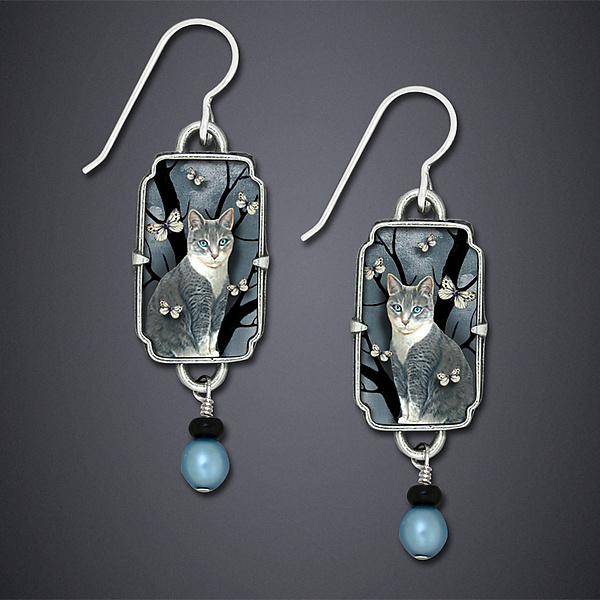 Neko Earrings - Silver Earrings - by Dawn Estrin