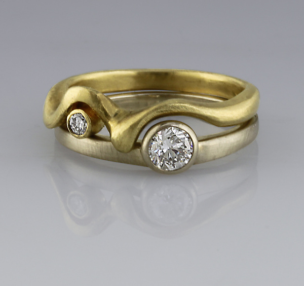 Nesting Diamond Bands - Gold & Stone Ring - by Karina Mattei