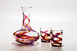 Art Glass Decanter & Tumblers by Michael Trimpol