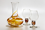 Art Glass Decanter & Snifters by Michael Trimpol