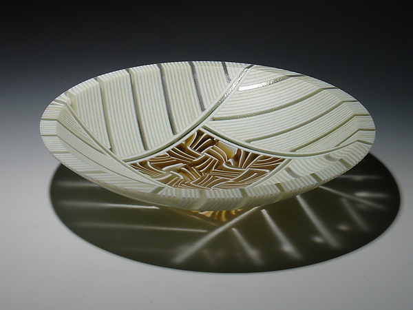 Amber Feathers Bowl - Art Glass Bowl - by Patti & Dave Hegland