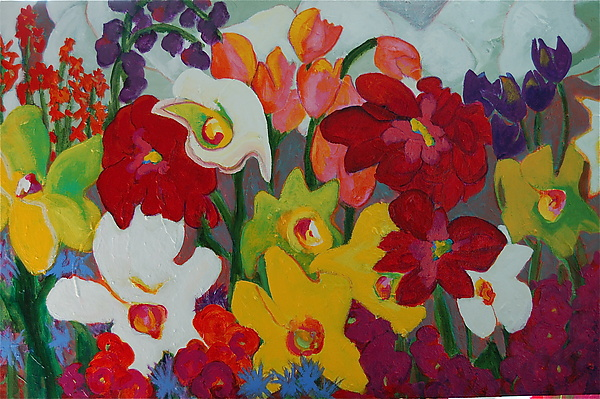 Face First in Flowers - Acrylic Painting - by Kathryn Pistor