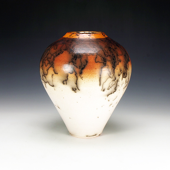 Raku Horse Hair Vessel - Ceramic Vessel - by Lance Timco