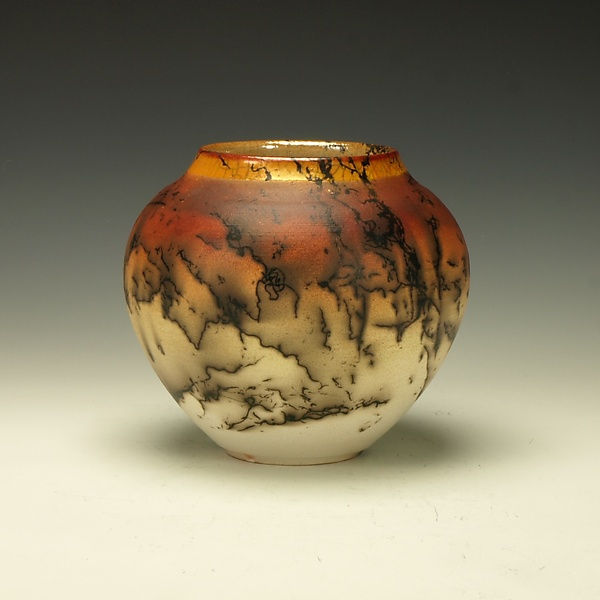 Small Horse Hair Raku Vessel - Ceramic Vessel - by Lance Timco