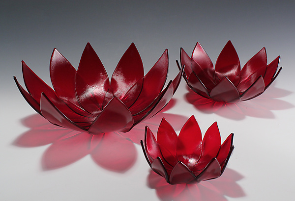 Red Lotus Bowl - Art Glass Bowl - by Heather Palmer