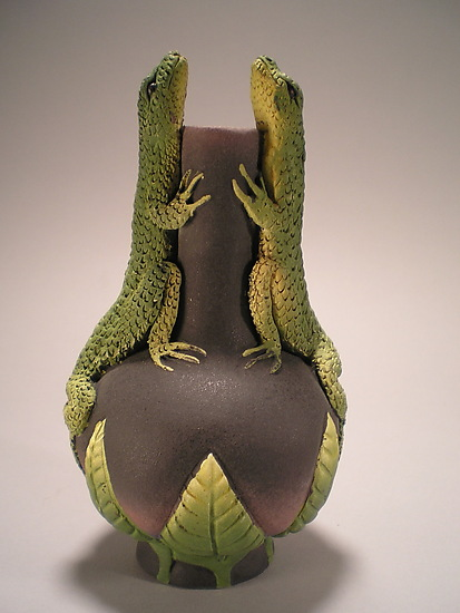 Two Lizard Vase - Ceramic Vase - by Nancy Y. Adams