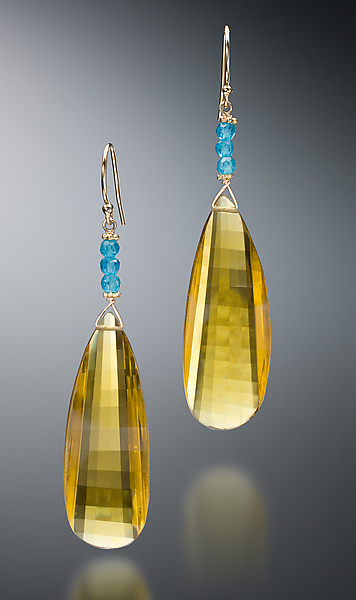 Gold Hydra Quartz Earrings - Gold & Stone Earrings - by Judy Bliss