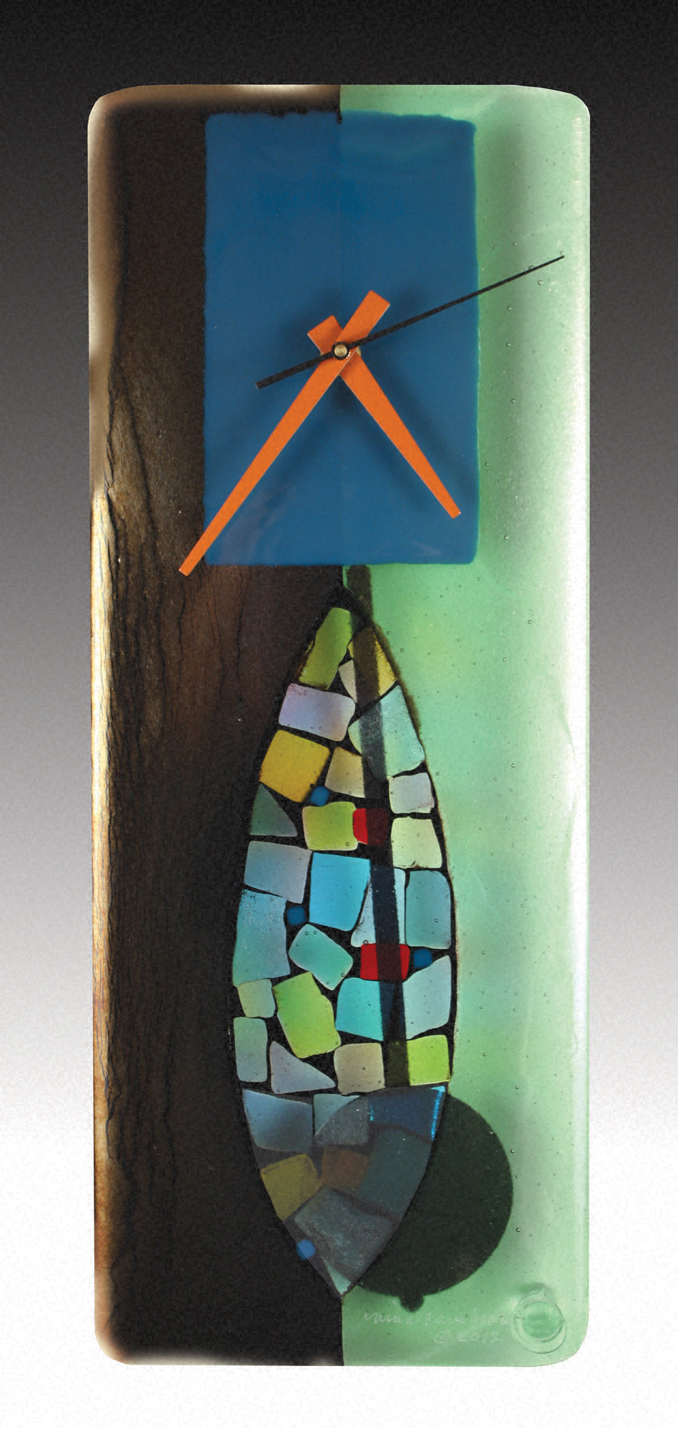 Portal Fused Glass Pendulum Clock - Art Glass Clock - by Nina Cambron