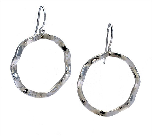 Wavy Circle Large Symbol Earrings - Silver Earrings - by Kathleen Lynagh