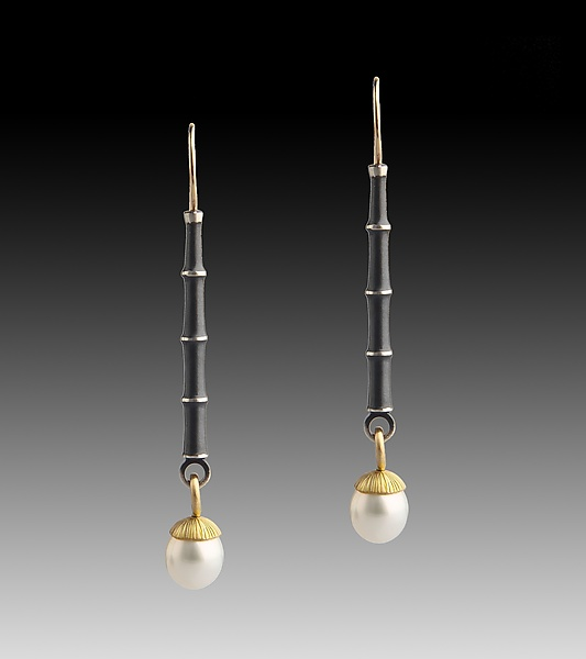 Bamboo Earrings with Drop Pearls - Gold, Silver, & Pearl Earrings - by Susan Mahlstedt