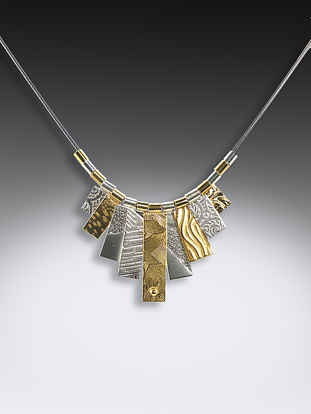 Black/Gold/Silver Multi-Tab Necklace - Gold & Silver Necklace - by Suzanne Q Evon