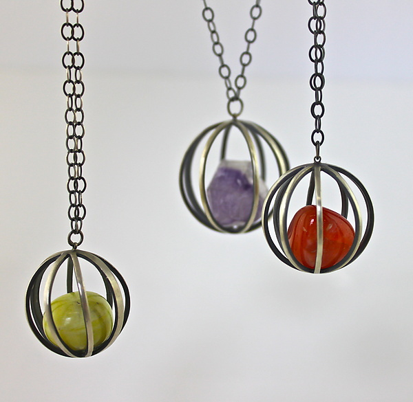Gem Cages - Silver & Stone Necklace - by Ashley Vick