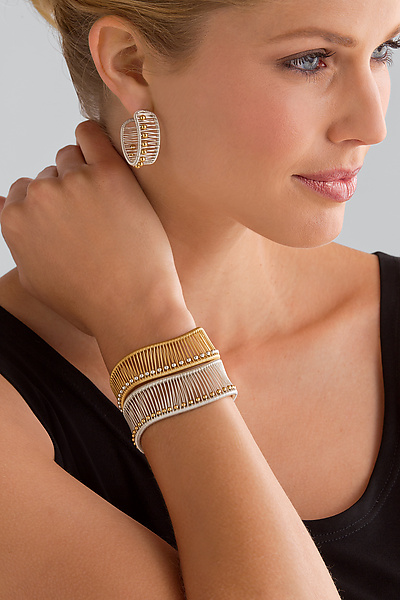 Kinetic Hoops & Cuff with Ball Beads - Gold & Silver Jewelry - by Tana Acton