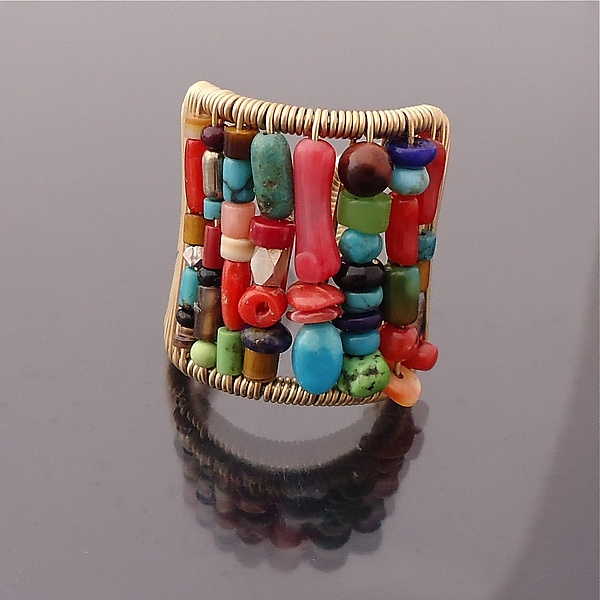 Tall Multi-Color Stone Ring - Gold & Stone Earrings - by Tana Acton