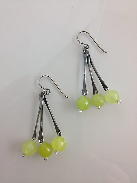 Green Jade Triple Drop Earrings - Silver & Stone Earrings - by Erica Stankwytch Bailey