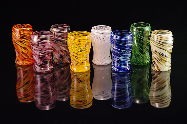 8 Piece Set Multi-Colored Pint Glasses - Art Glass Cups - by Corey Silverman and Horace Marlowe