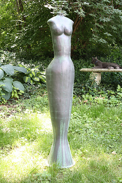 Lady in Green - Ceramic Sculpture - by Cathy Broski