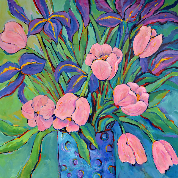 Irises and Tulips - Acrylic Painting - by Filomena Booth