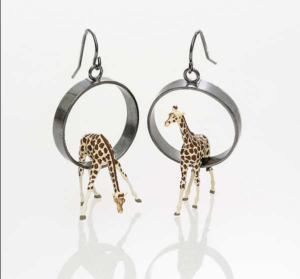 Giraffes in Circle Earrings - Silver Earrings - by Kristin Lora
