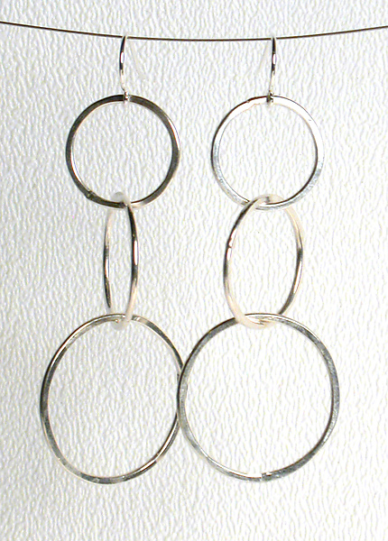 Medium Circle Link Earrings - Silver Earrings - by Kristin Lora