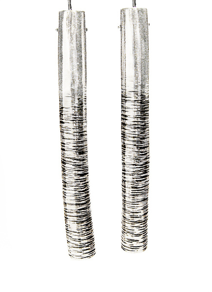 Striped Cylinders - Silver Earrings - by Sophie Hughes