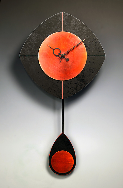 L-Drop Pendulum Clock - Black & Copper - Wood Clock - by Leonie Lacouette