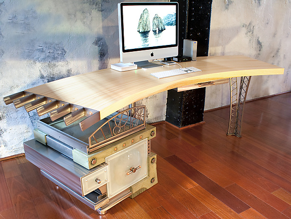 Old Mill Desk - Metal & Wood Desk - by David Sleightholm