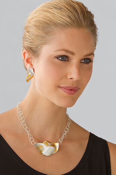 Peony Necklace and Embrace Earrings - Gold & Silver Necklace - by Judith Neugebauer