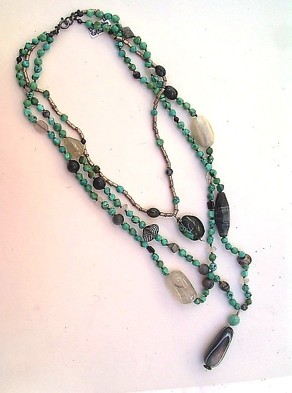 Bohemian Collection--Turquoise,Silver, Druzy - Beaded Necklace - by Diana Lovett
