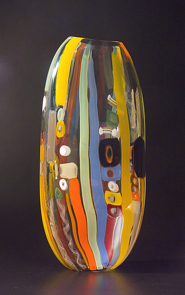 Tapestry Flat 1 - Art Glass Vessel - by Bengt Hokanson and Trefny Dix
