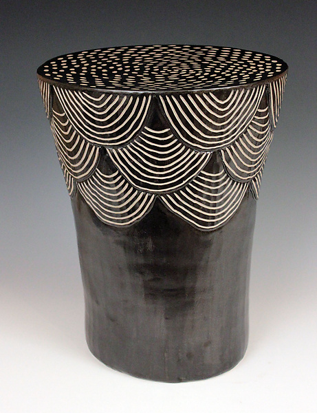 Round Scales Side Table - Ceramic Side Table - by Larry Halvorsen