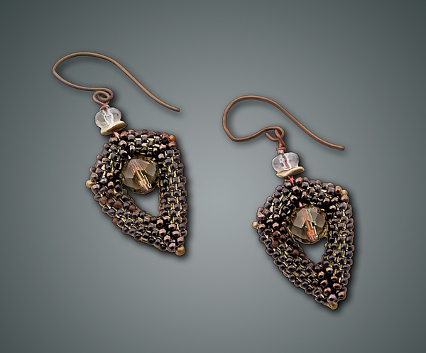Smoky Quartz Open-Drop Earrings - Beaded Earrings - by Julie Powell
