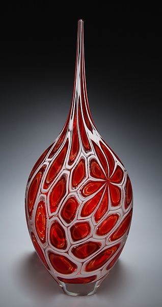 Red Murrine Resistenza - Art Glass Vessel - by David Patchen