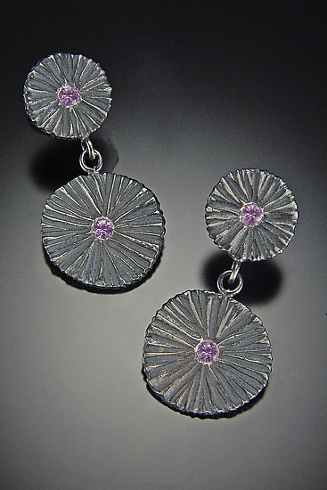 Double Shield Earrings - Silver & Stone Earrings - by Dahlia Kanner