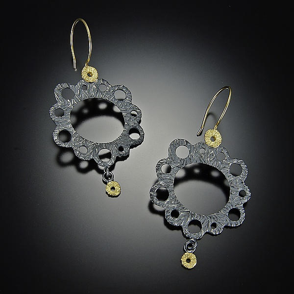 Lacy Earrings - Gold & Silver Earrings - by Dahlia Kanner