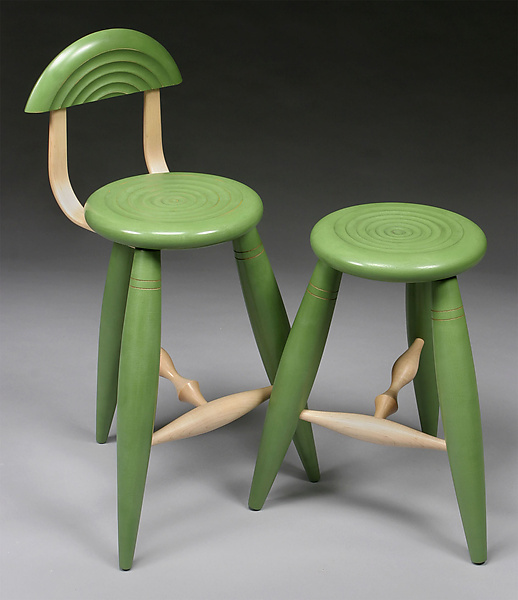 Green Ripple Stool - Wood Stool - by David Scott
