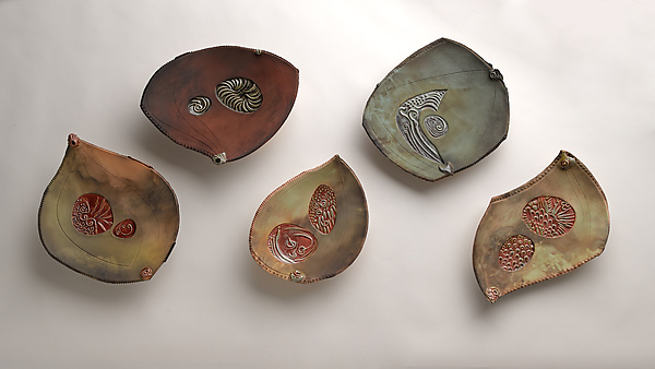Barely Bowl Quintet - Ceramic Wall Art - by Jan Jacque