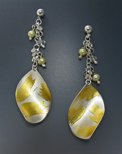 Ringlet Earring - Gold, Silver, & Pearl Earrings - by Judith Neugebauer