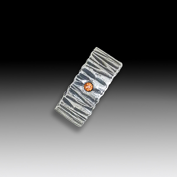 Sterling Silver and Orange Sapphire Ring - Silver & Stone Ring - by Suzanne Q Evon