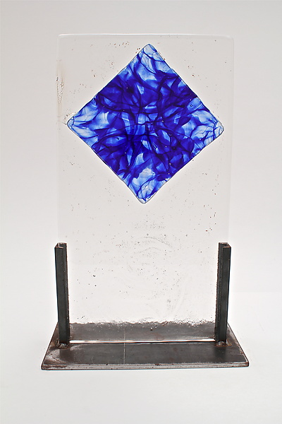 Cast Glass Blue Fusing Inclusion - Art Glass Sculpture - by Dierk Van Keppel