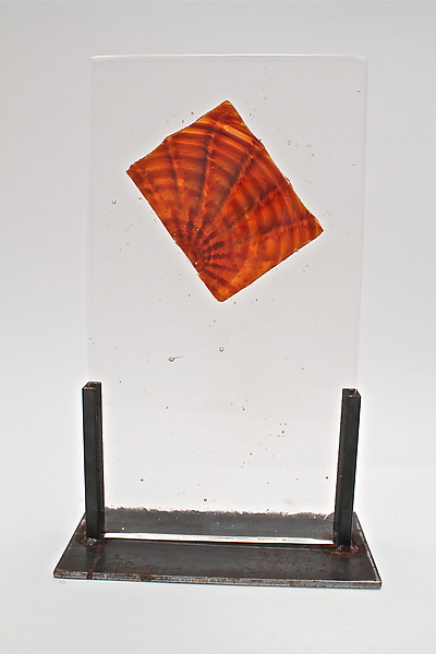 Cast Glass Amber Optic Inclusion - Art Glass Sculpture - by Dierk Van Keppel