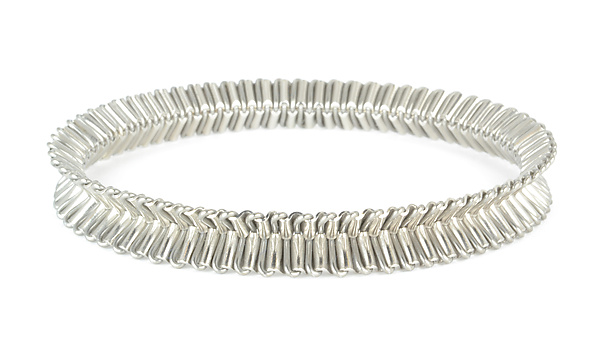 Palladium Ruffle Bangle Bracelet - Palladium & Steel Bracelet - by Mackenzie Sala