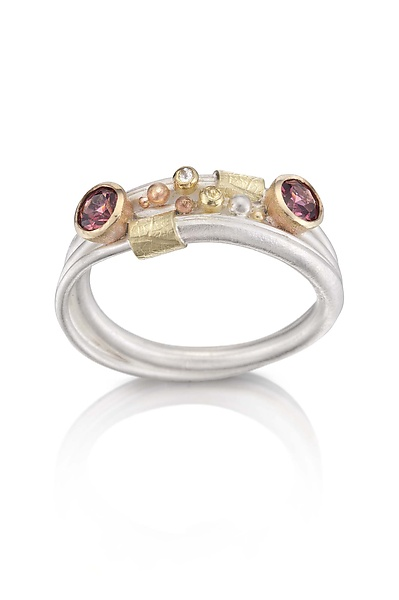 Vine Ring 3 - Gold, Silver, & Stone Ring - by Christine MacKellar